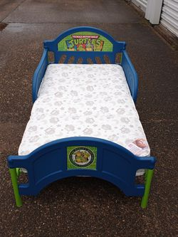 Blue & Green Delta Ninja Turtle Toddler Bed Frame With Mattress $45 READ DESCRIPTION!! MUST PICK UP!! for Sale in Houston,  TX