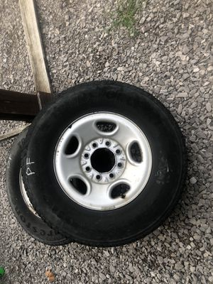 """4 used tires and rims off of a 3/4 ton Chevy Pickup. Still some tread and balanced just before takeoff. These will work on trailers with 16"""" wheels. for Sale in Franklin, TN"""