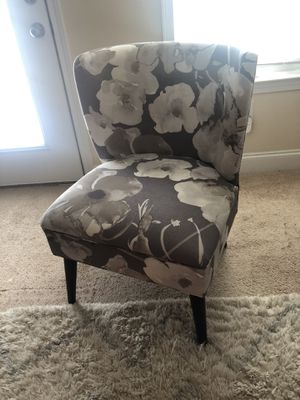 Side Accent Chair - Light grey with Floral Print for Sale in Warner Robins, GA
