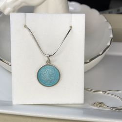 1960s St Christopher medal. Sterling silver and Blue Enamel pendant Vtg Charm Necklace for Sale in Manassas,  VA