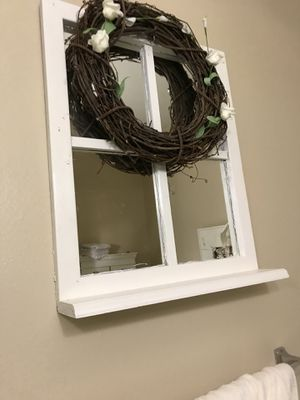 Nice farmhouse window mirror and wreath for Sale in Glendora, CA