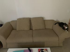 FREE COUCH - moving MUST BE GONE TODAY!!!! Super comfortable. If you get two more pillows like I did it looks cute and feels more comfy for Sale in Lake Worth, FL