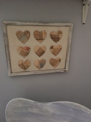 Shabby chic frame with handmade heart quilted picture for Sale in Cumming, GA