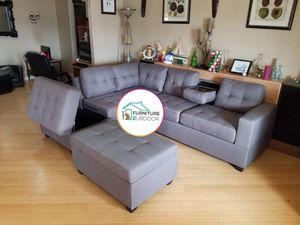 New Stone Grey Fabric 3pc Reversible Sofa Sectional Couch & Ottoman - Financing Available for Sale in Moreno Valley, CA