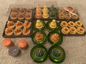 Autumn, fall leaf, sunflower, gourd votive candles and holders for Sale in Cedar Hill, TX
