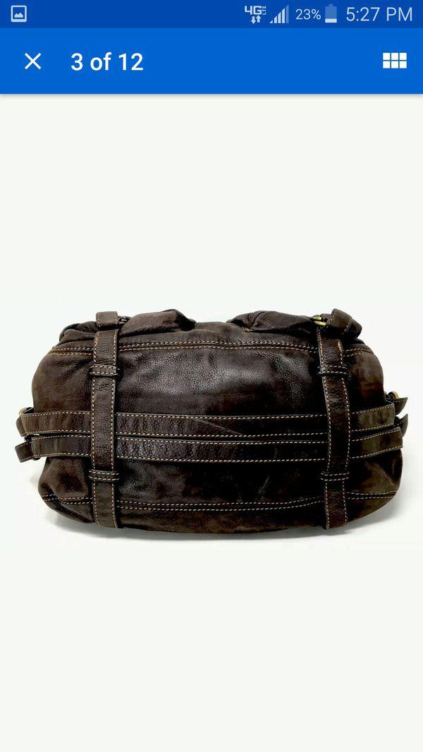 Francesco Biasia Handbag Shoulder Bag Women's Large Brown Leather Double Military Pocket Satchel Hobo -