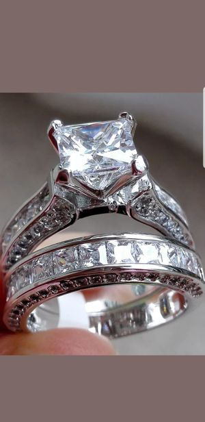 ❤Women Wedding Engagement Ring Set Princess White Cz 925 Sterling Silver Sz 5-10❤ for Sale in Perris, CA