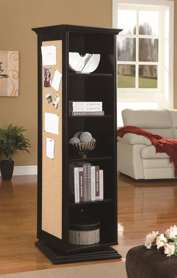 "910083 21"" Swivel Cabinet with 5 Storage Shelves, 3 Hooks, Cork Board, and Mirror in Black Finish by Coaster"