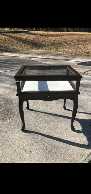 Display end table. Glass top and sides. W/drawer for Sale in Stockbridge, GA