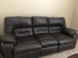 2 Leather Reclining Couches with Massager, Mini Cooler, and Light for Sale in Hendersonville, TN