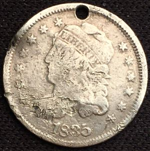 RARE 1835 Capped Bust Half Dime Large Date Small 5 Cents- Holed but Some Nice Detail! for Sale in Geneva, IL