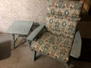 Rustic reclaimed vintage patio chair and accent table for Sale in Clovis, CA