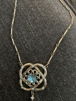 Goldtone And Blue Rhinestone Necklace for Sale in Hayward,  CA