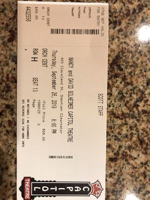 1 ticket to Scott Stapp at the Capitol Theatre in Clearwater for Sale in Lutz, FL