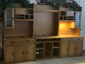 Solid Oak 3 piece desk / entertainment center for Sale in Colorado Springs, CO