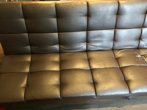 Choclate brown leather futon for Sale in McLean, VA