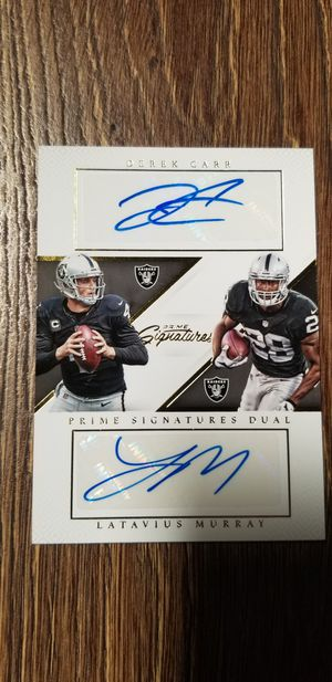 Derek Carr Autographed Card dual auto for Sale in Laton, CA