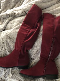 Red knee high boots for Sale in Sterling,  KS