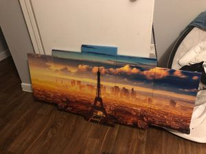 Paris themed wall picture and 3 set gold mirrors for Sale in Dallas, TX