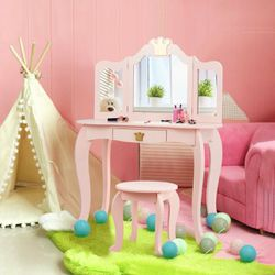 Kids Makeup Dressing Table With Tri-Folding Mirror And Stool-Pink for Sale in Diamond Bar,  CA