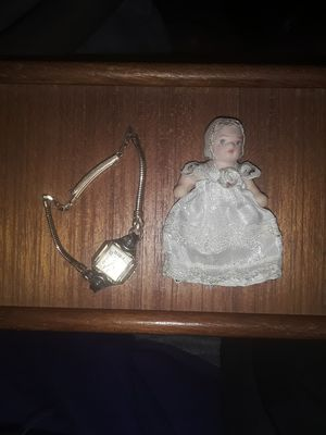 The watches 14 karat gold filled dolls porcelain with a hand crocheted dress for Sale in South Range, WI
