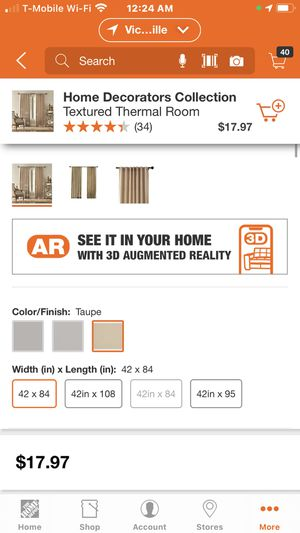 Home Decorators Collection Textured Thermal Room Darkening Window Panel in Taupe - 42 in. W x 84 in. L 2 bags one pack each cost $19.28 wt tax now for Sale in Apple Valley, CA