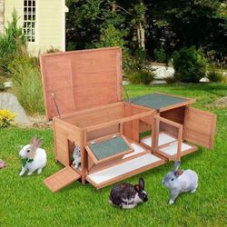 New Wood Bunny Rabbit Hutch with Feeding Trough, Two Rooms, Six Legs, Multiple Doors,Openable Roof, Orange and Green for Sale in Los Angeles,  CA