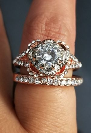 18kt Rose Gold Filled Simulated Diamond 2pcs Wedding Ring Set size 6 for Sale in Silver Spring, MD