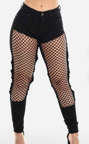 Low Rise Torn Fishnet Black Skinny Jeans 1 for Sale in Charlotte, NC
