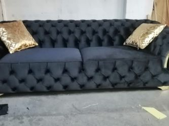 Sofa And Loveseat Black Velvet ↗️$39 Down Payment 100 Days Same As Cash for Sale in Austin,  TX