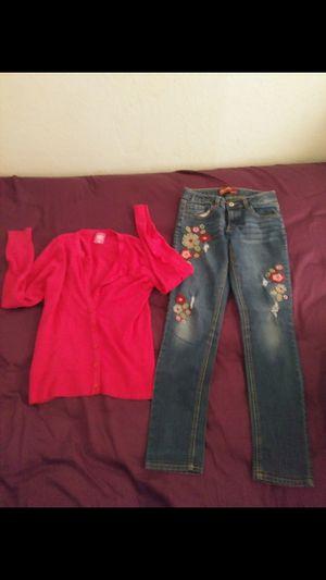 Sz 14 girld jeans & cardigan for Sale in Monte Alto, TX