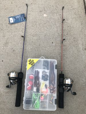 Kids fishing poles and tackle box $20 for Sale in San Bernardino, CA