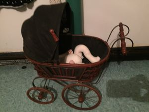 Antique doll carriage and doll for Sale in Methuen, MA
