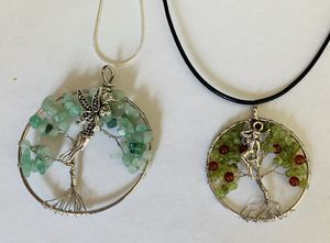 Necklace jewelry Fairy Gemstone Handmade tree of life Lot Silver Chain or Leather Cord! for Sale in Worcester, MA