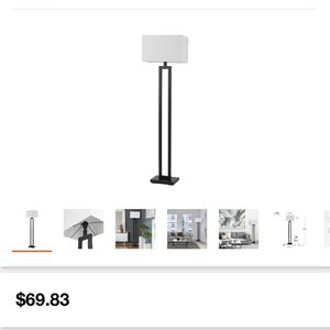 Globe Electric D'Alessio 58 in. Matte Black Floor Lamp with White Linen Shade for Sale in Houston, TX