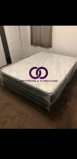 FULL MATTRESS BED PILLOW TOP COMFORT FREE BOX SPRING 🎗️Mattress&Furniture🎗️ QUEEN FULL KING TWIN 🎗️ COLCHONES NUEVOS Y CAMAS for Sale in North Miami Beach,  FL