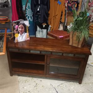 Dark Wood Tv Stand With Stone Trim for Sale in Albuquerque, NM