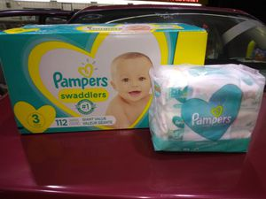 Pampers Cruisers size 3. 112 diapers and wipes for Sale in Bothell, WA