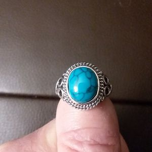 SILVER PLATED TURQUIOSE RING. SIZE 7 for Sale in Philadelphia, PA