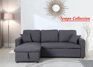 NEW IN THE BOX. LINEN PULL OUT SECTIONAL SOFA, grey, SKU# TT8067-BK for Sale in Santa Ana, CA