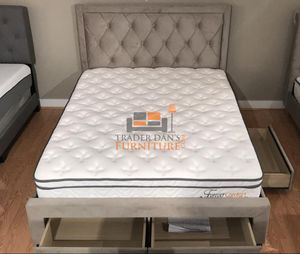 Brand New Queen Size Champagne Suede Storage Bed Frame ONLY for Sale in Silver Spring, MD