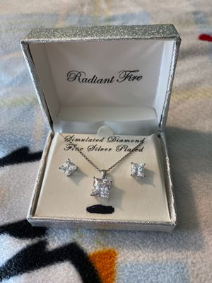 Diamond earrings and necklace for Sale in Stevensville, MD