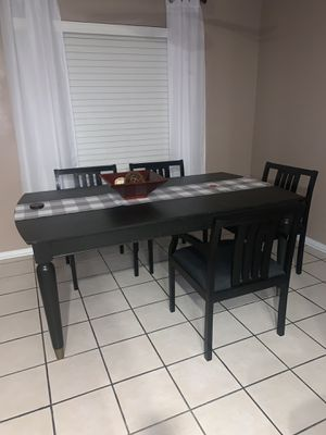 Painted Black Kitchen Table w/ 5 chairs for Sale in Houston, TX