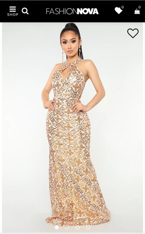 Fasion Nova, Ivory/Gold In Sequence Dress Sz. Large - Used for Sale in Humble, TX