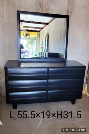 Dresser with mirror refinished black for Sale in Cedar Hill, TX
