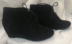 BLACK SUEDE WEDGED HEEL BOOTS ~ Size 10 for Sale in Beaverton, OR