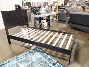 TWIN SIZE Wood Platform Bed with Headboard / No Box Spring Needed / Wood Slat Support, Cappuccino| 7582T-CP for Sale in Garden Grove, CA