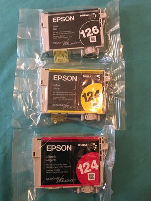 Epson ink cartridges- 126, 124 - blk, ylw, red for Sale in Stockton, CA