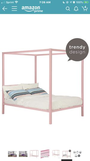 Pink canopy full size girl bed for Sale in NO POTOMAC, MD
