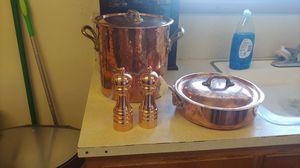 Mauviel copper Stockpot & frying pan & salt and pepper shaker for Sale in Auburn, WA